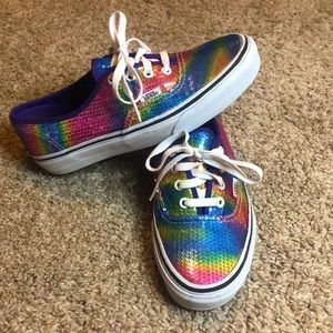 Lace up sequin multi color vans